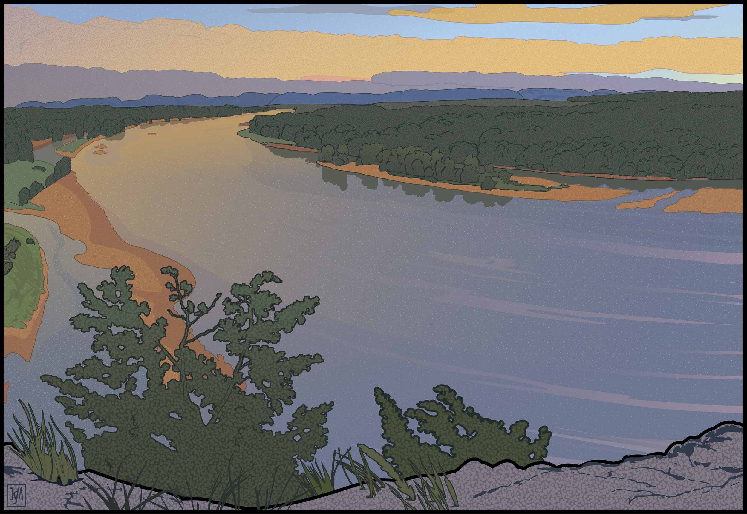 Up River from Ferry Bluff digital print -32 x 41