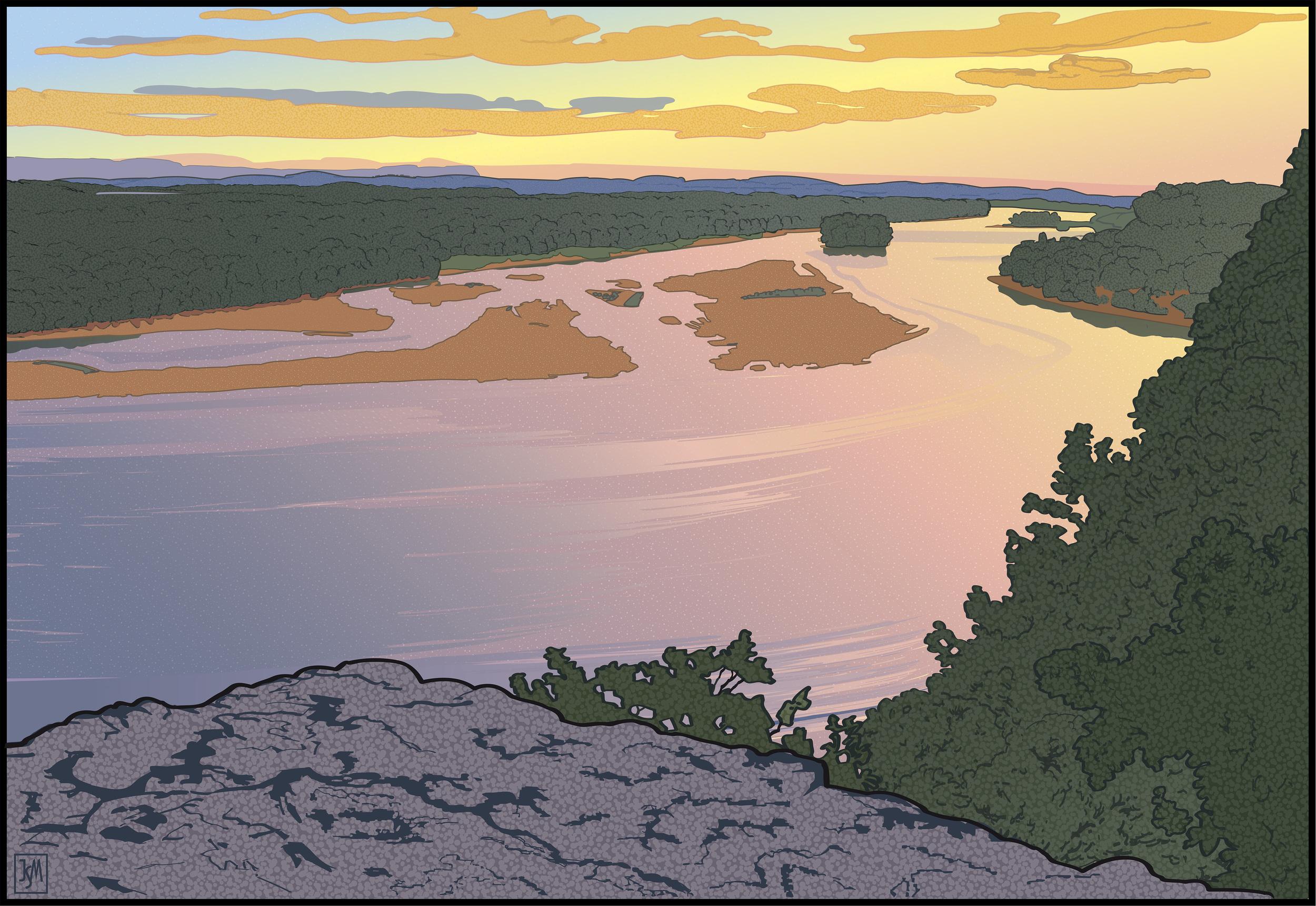 Down River from Ferry Bluff   digital print -  32 x 41