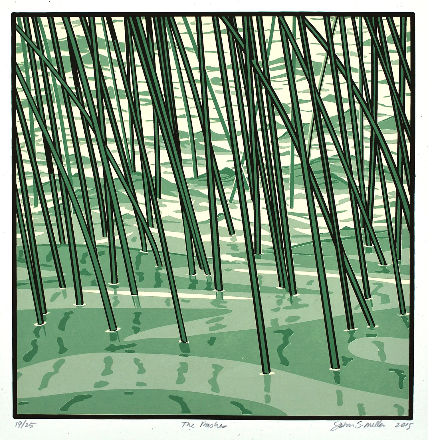 The Rushes screen print on paper -19.5 x 19