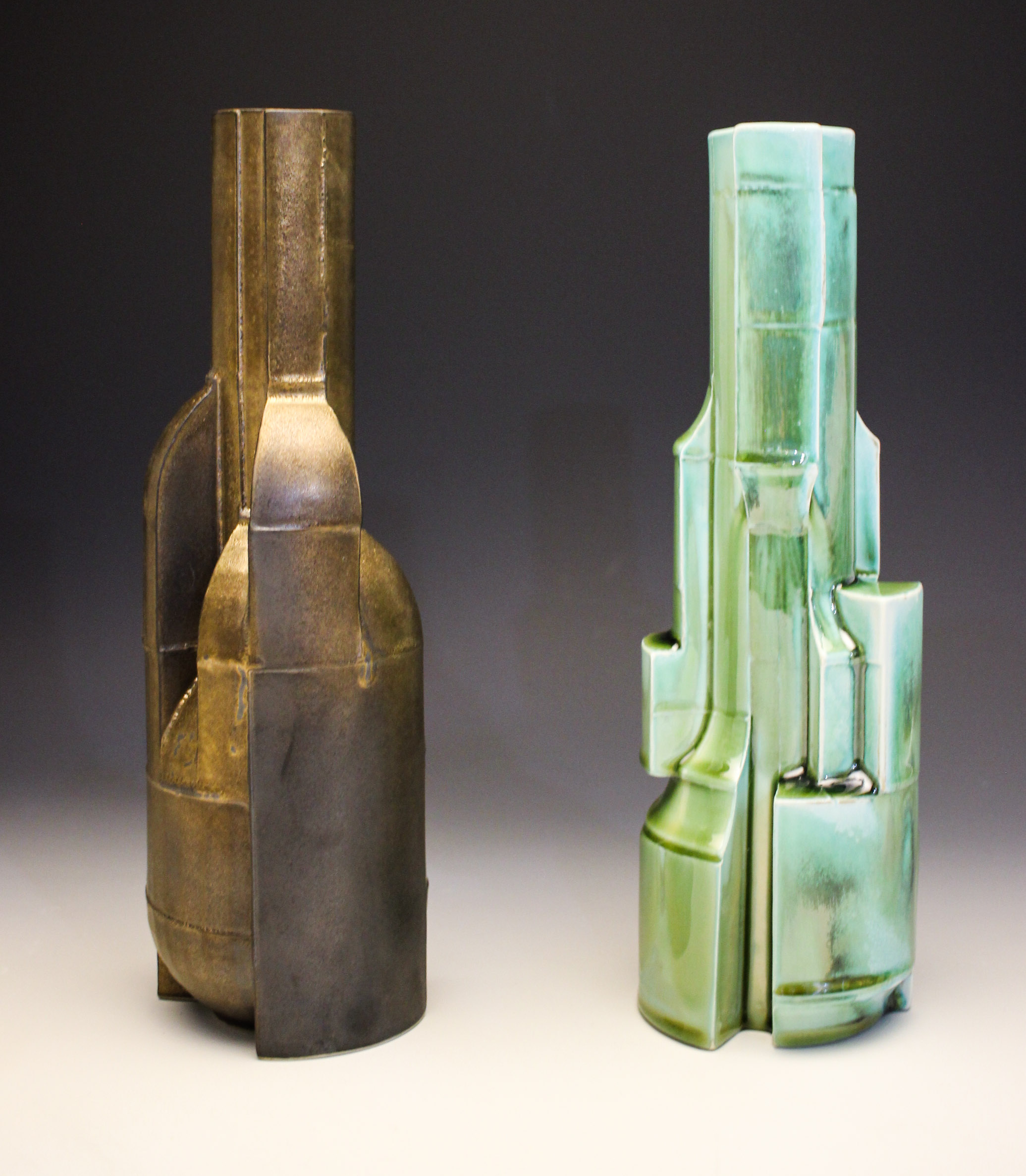 Bronze and Teal Constructions SOLD  ceramic