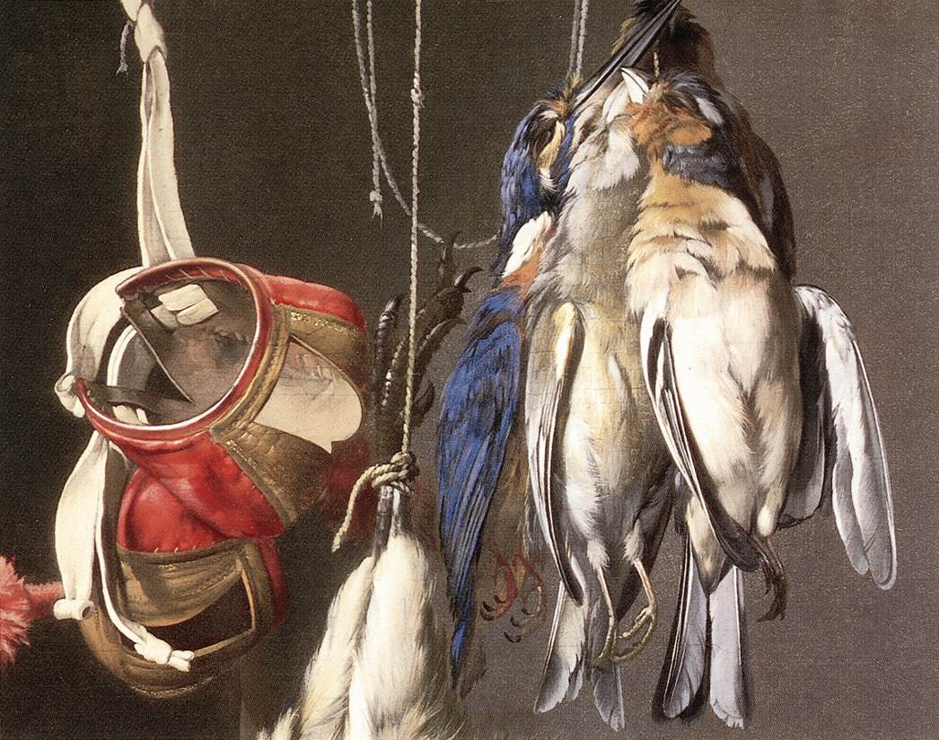 detail from Willem Van Aelst's  Hunting Still Life  of 1665