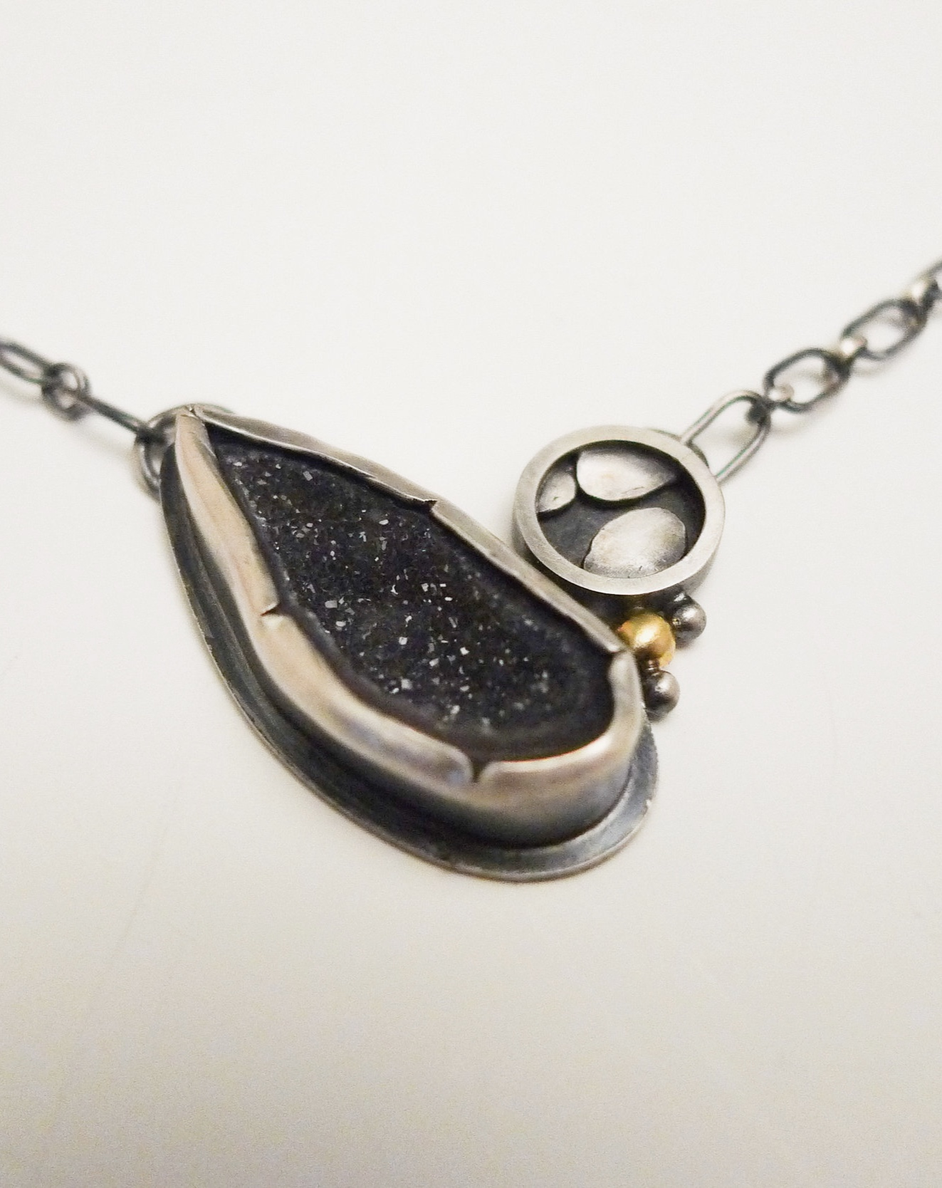 Necklace sterling silver, gold, purple geode
