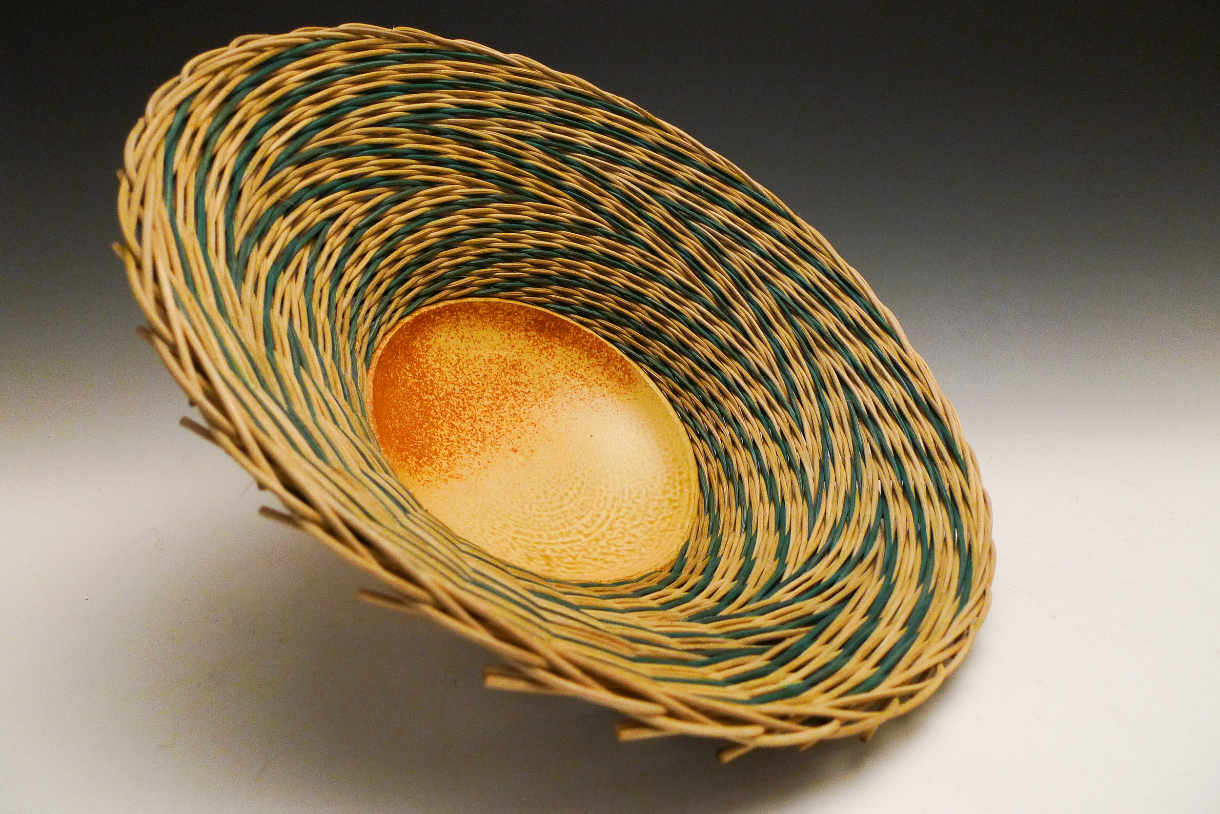 Basket rattan died with procion and walnuts, stoneware SOLD