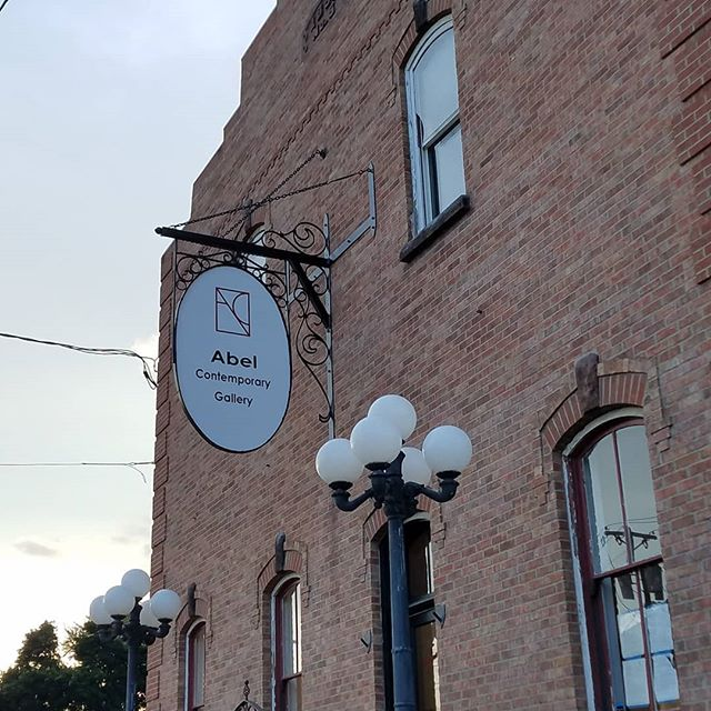 We have a sign! @abelcontemporary #diy #renovation #repurposedbuilding #artiststudio #artgallery #artgallerydesign #storefront #tobbacowarehouse #stoughtonwi #visitstoughton