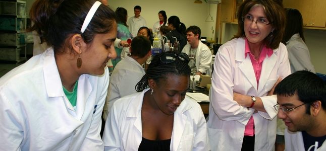Students in a research lab.