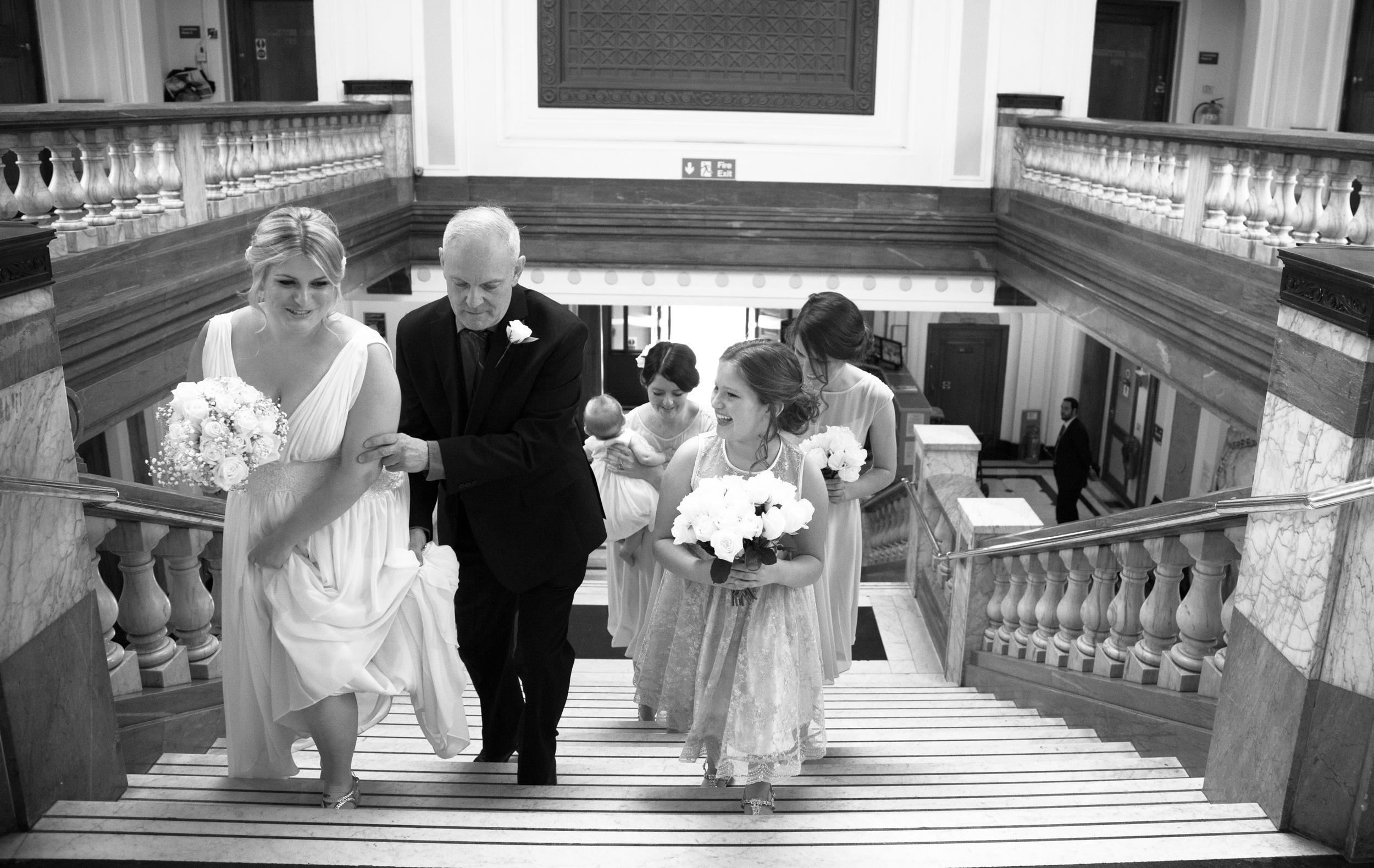 islington-town-hall-bride-staircase-bridesmaids-1