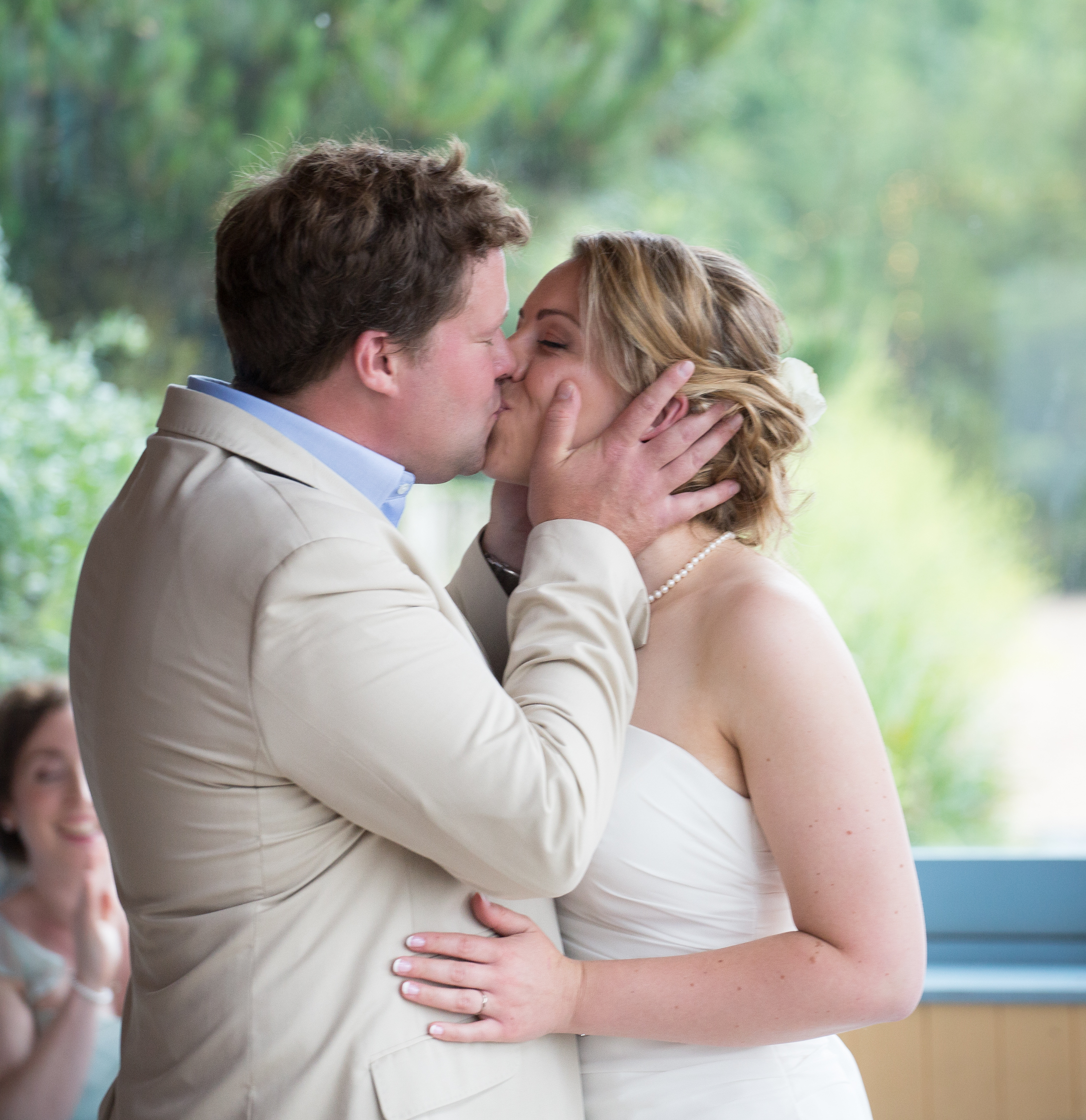 devon bride and groom wedding kiss 1