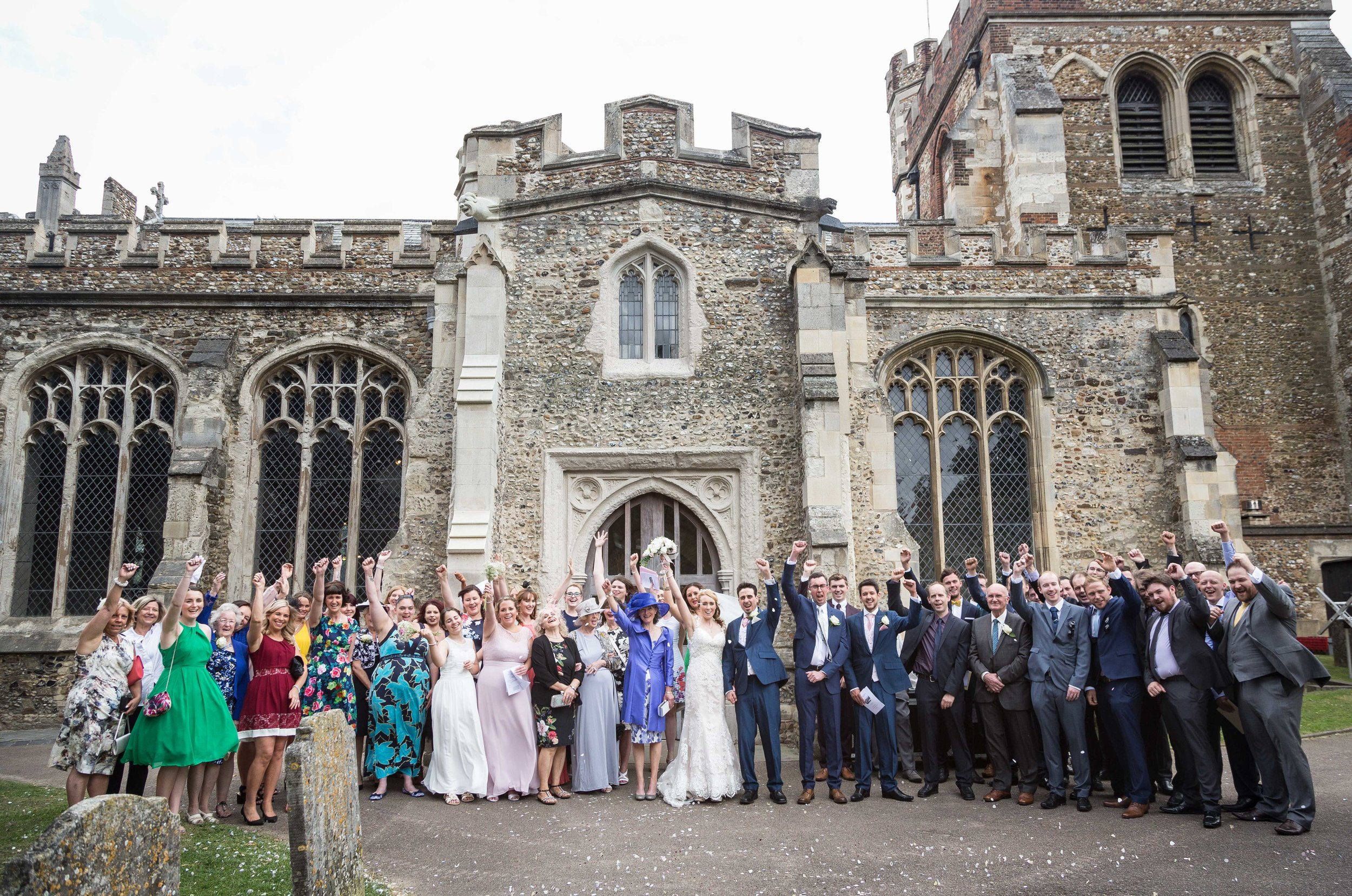 St-Mary's-church-Hitchin-herfordshire-wedding-group shot