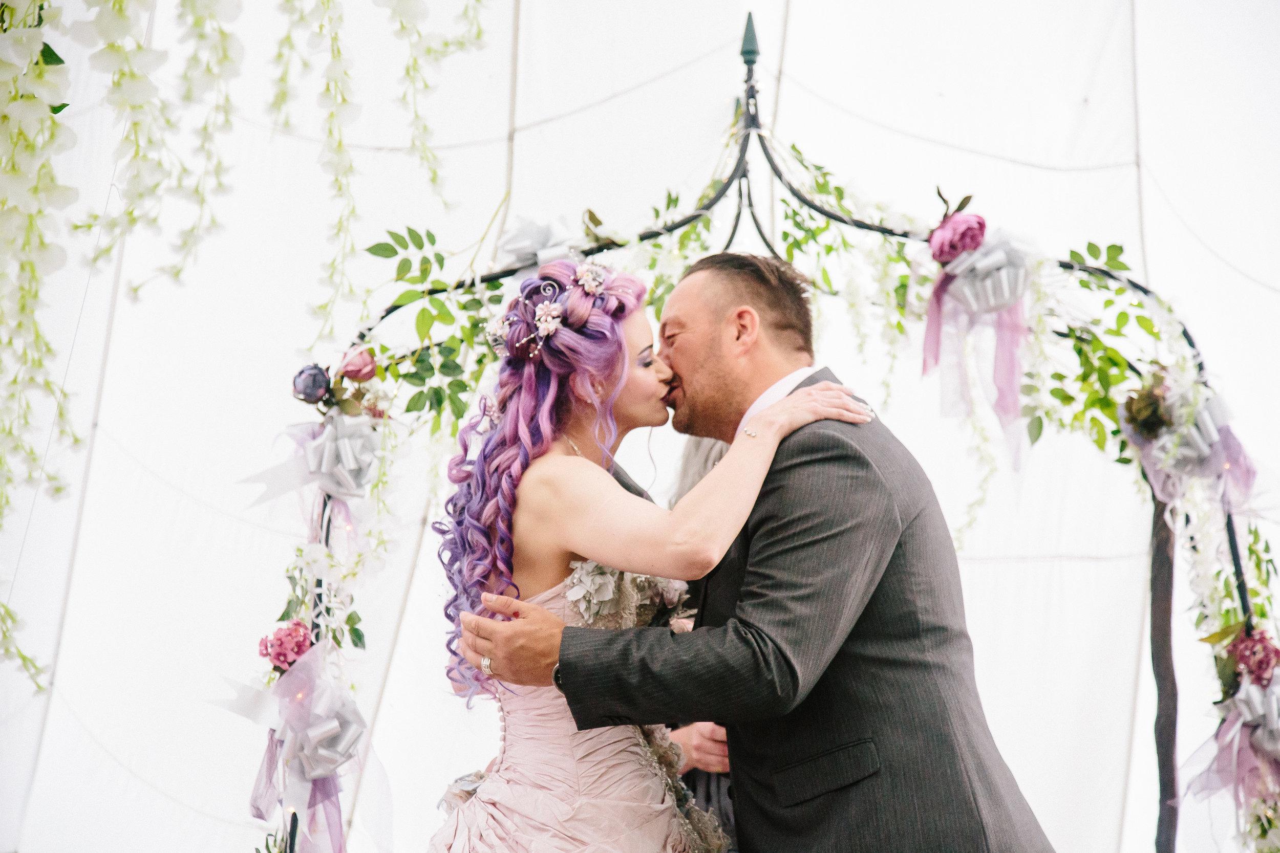 first-kiss-ceremony-bride-essex-movie-theme-wedding-4