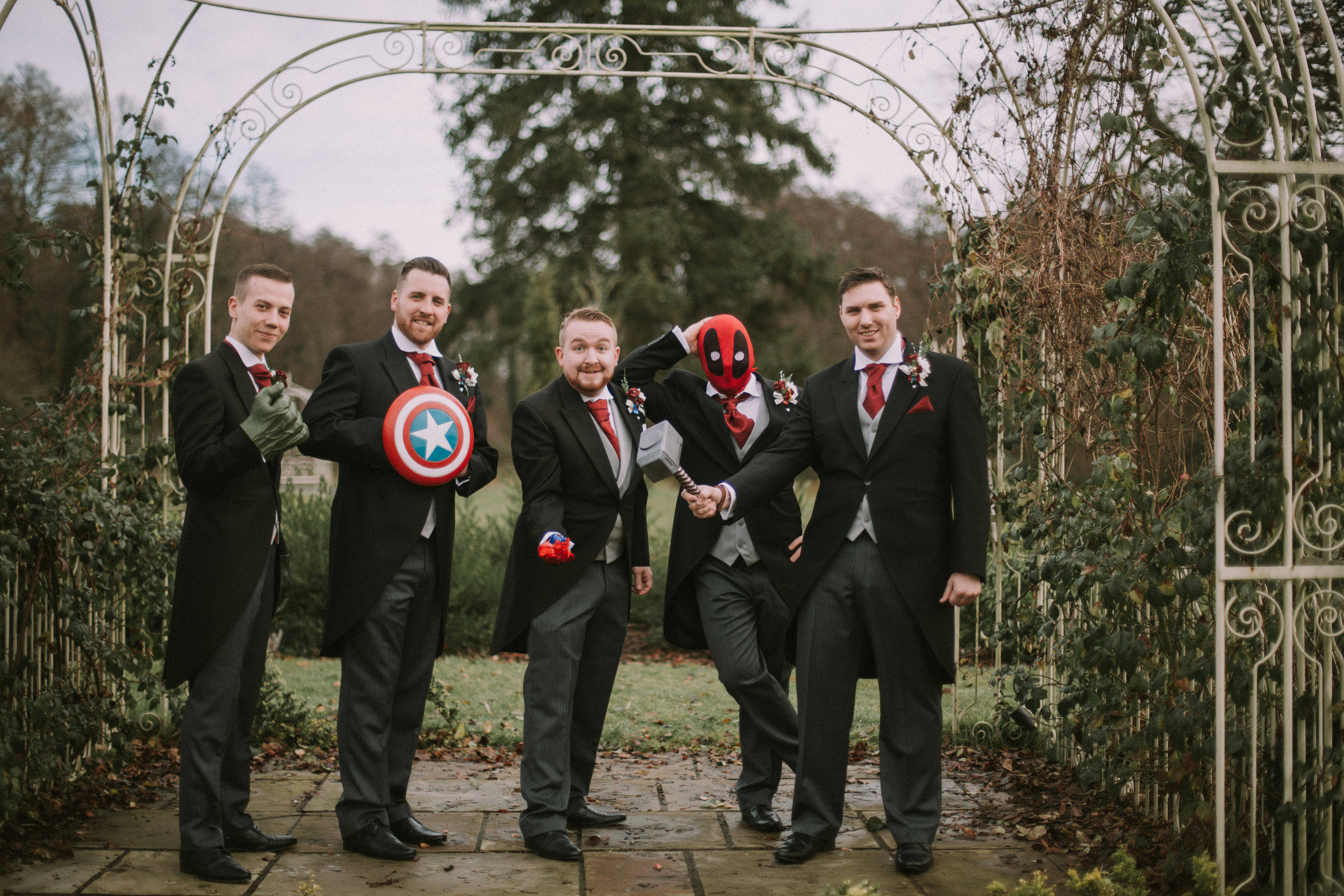 Sussex-winter-wedding-photography-southdowns-manor-groomsmen-portrait-11