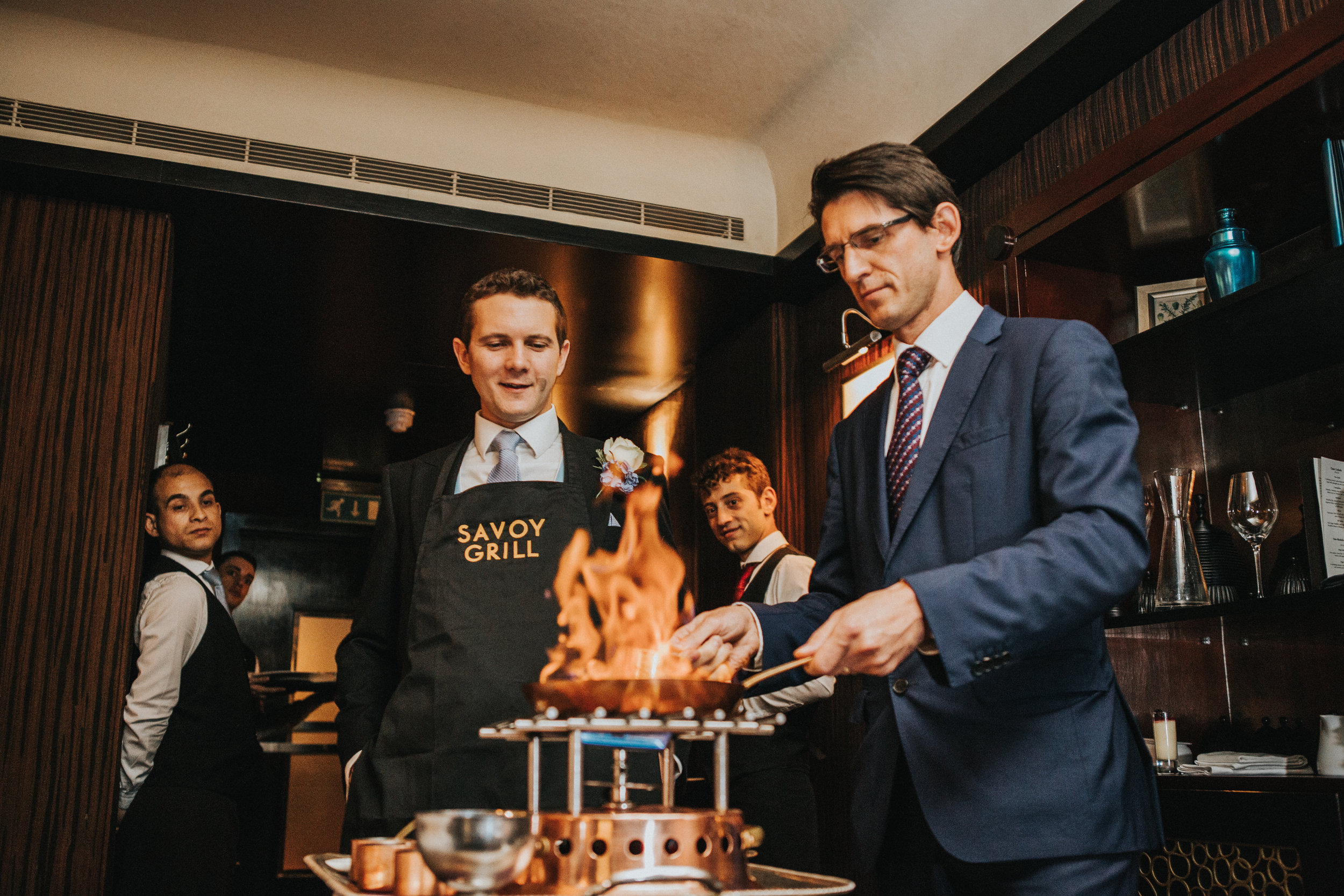 london-wedding-photography-wimbledon-wandsworth-town-hall-savoy-grill-dining-room-crepes-flambe-89