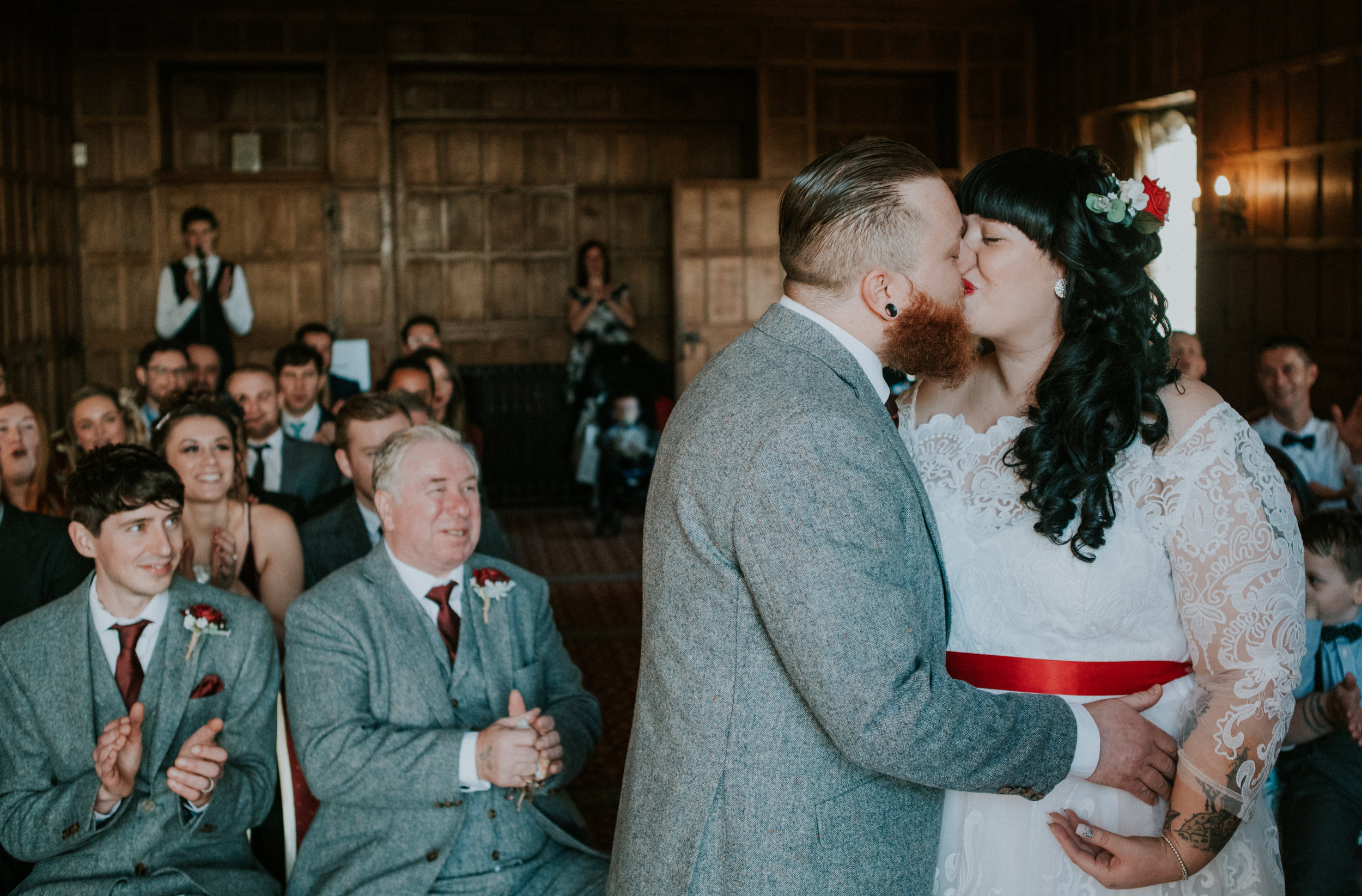 london-kent-wedding-photography-lympne-castle-ceremony-first-kiss-28