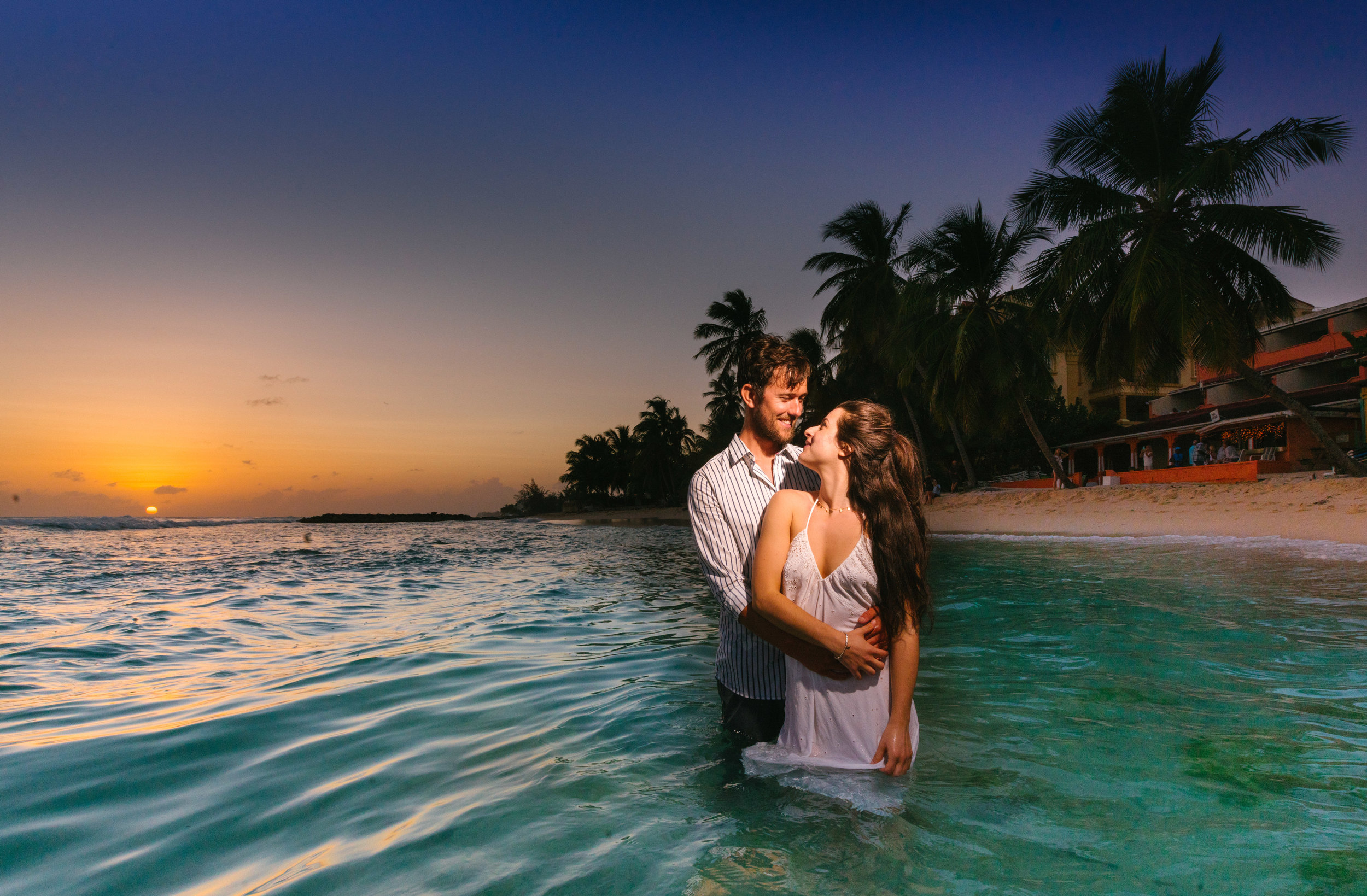 Wedding Couple In Sea In Barbados - Wedding Photography