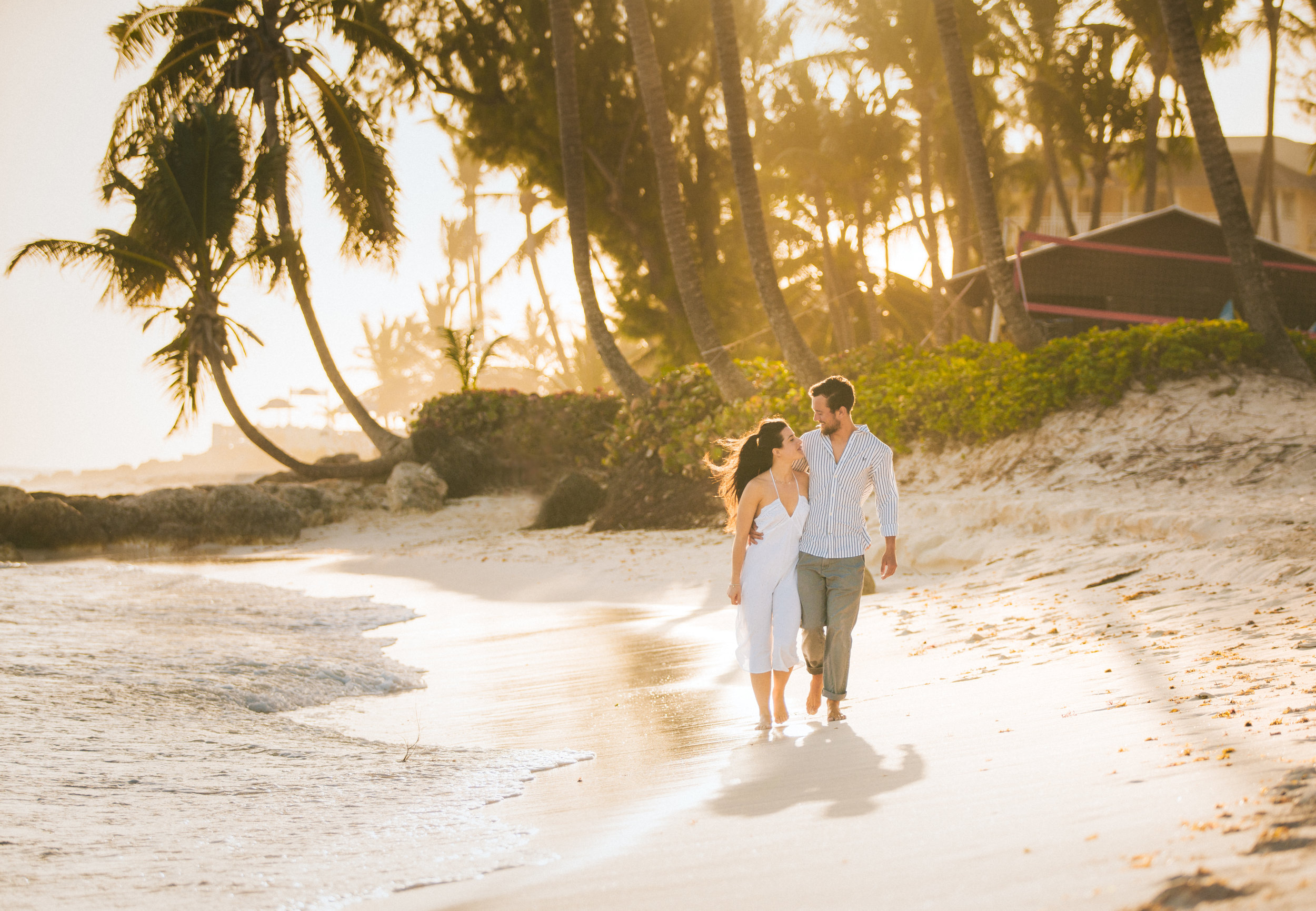 Barbados Wedding - Wedding couple walking along beach