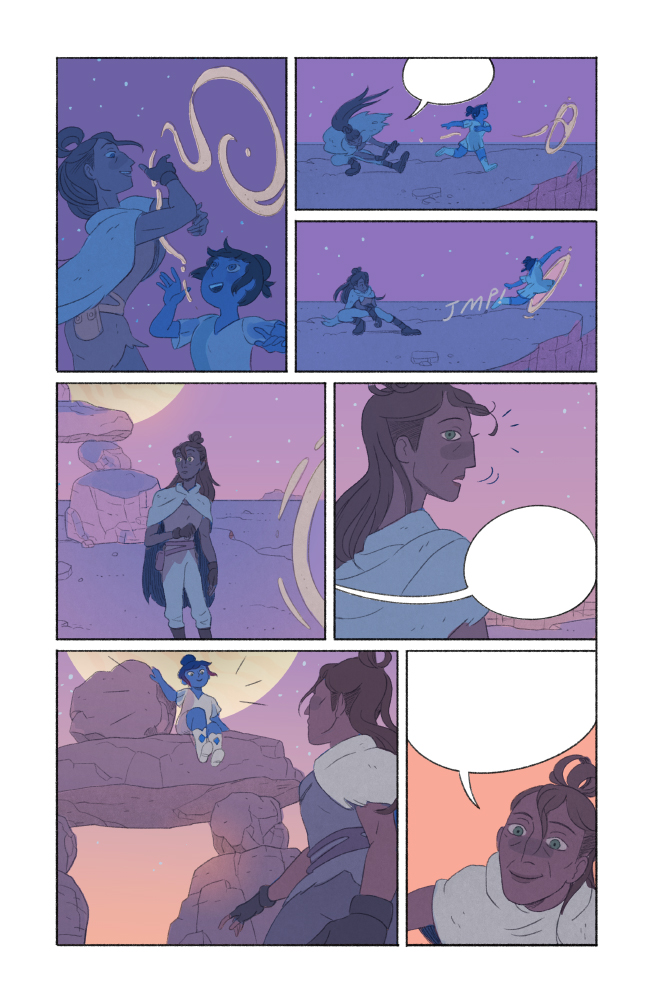 """a page from """"5 Worlds 3: The Red Maze"""", published by Penguin RandomHouse. Pencils + colors by Xanthe Bouma, inks by Matt Rockefeller"""