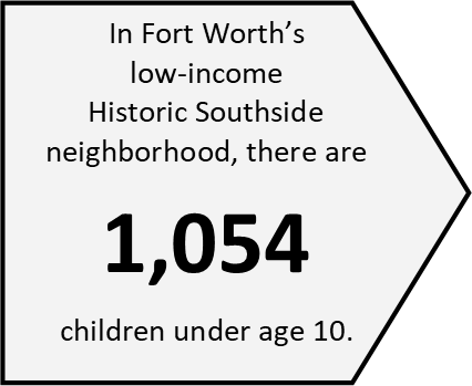 The Historic Southside neighborhood is bounded by I-35 to the west, Riverside Drive to the east, Vickery Street to the north, and Rosedale Street to the south.  (Data Source: 2010 Census).  Fortress also serves children and families who reside in the Butler Place housing projects just north of I-30.