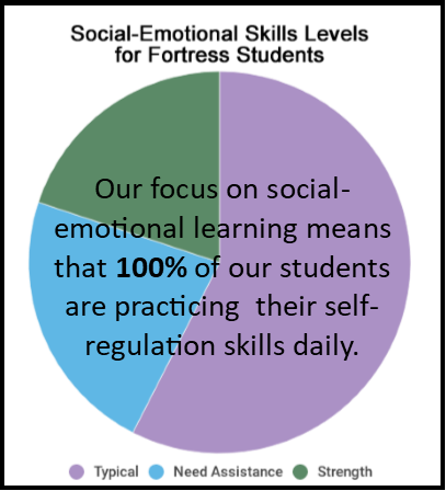 Our 3-5 year olds are measured on three essential social-emotional skills, while our 5-11 year olds are measured on eight essential social-emotional skills. We're proud that so many of our student meet or exceed expectations in their skills, and are grateful for the opportunity to work with kids who need a little extra care.  (Data source: 2018 DECA & DESSA assessments).