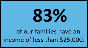 The  federal poverty line  for a family of four is $25,100.  (Data source: 2018-19 family survey data).