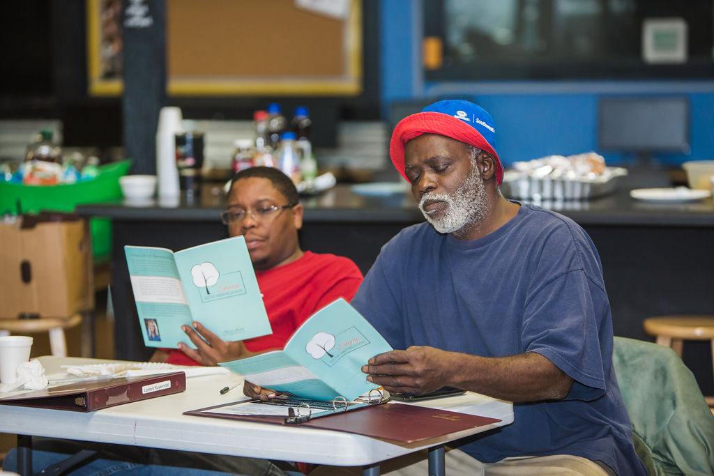 Fortress dads Lamont (l) and Gerry (r) participate in ENGAGE parenting class.