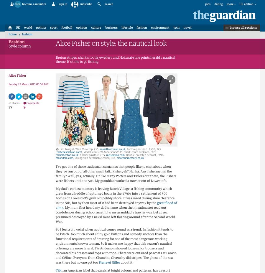 The Guardian Fashion Alice Fisher on style nautical look
