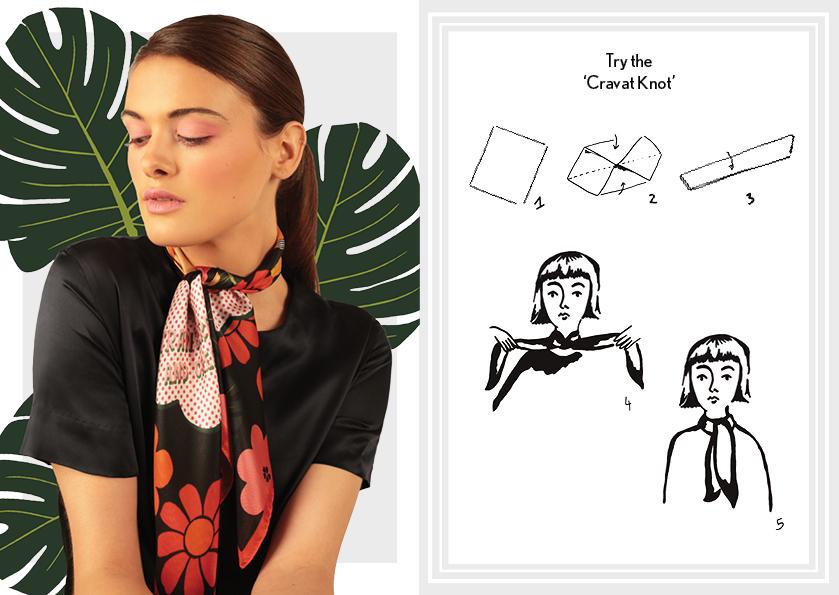How to tie the cravat knot - designer silk scarves