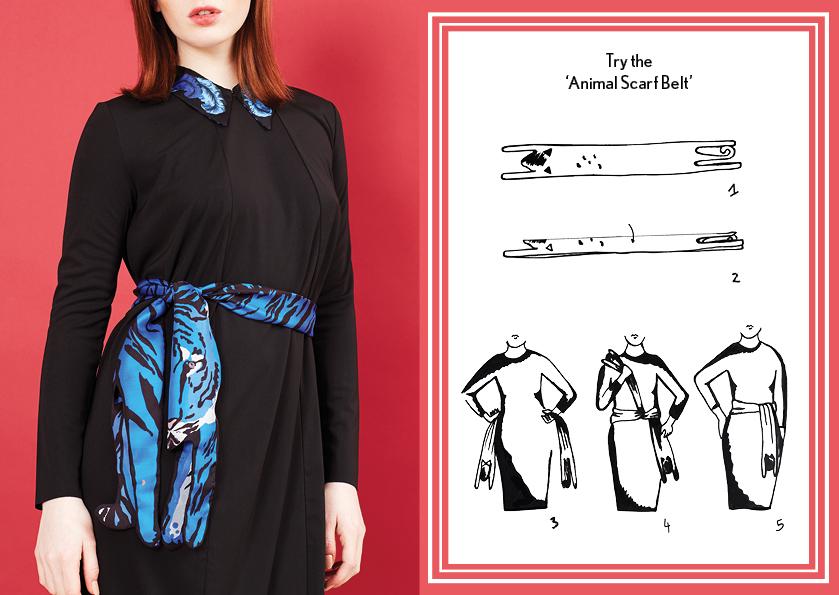 How to tie a scarf belt - designer silk scarf