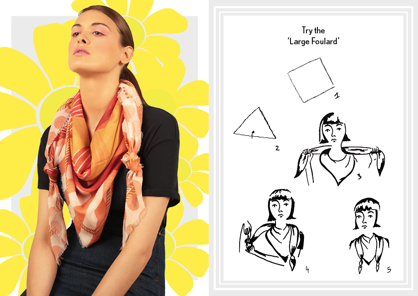 How to tie a large foulard knot - designer silk scarves