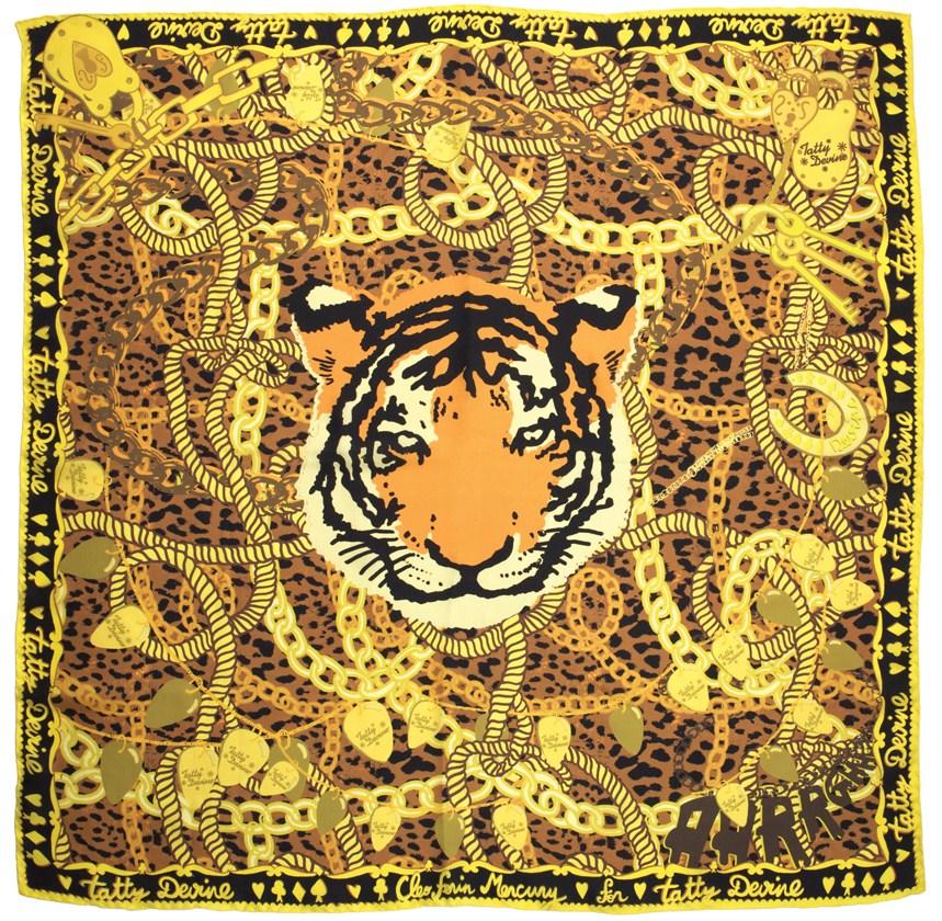 Cleo Ferin Mercury Designer Silk Tiger Scarf for Tatty Devine