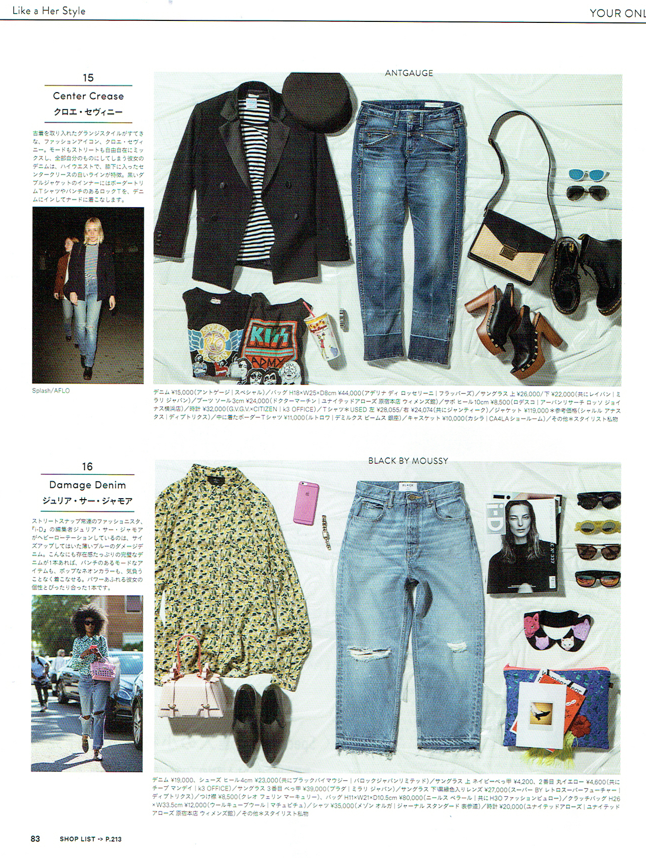 Cat Faces Silk Collar  as seen in Ginza Magazine's Damage Denim feature.