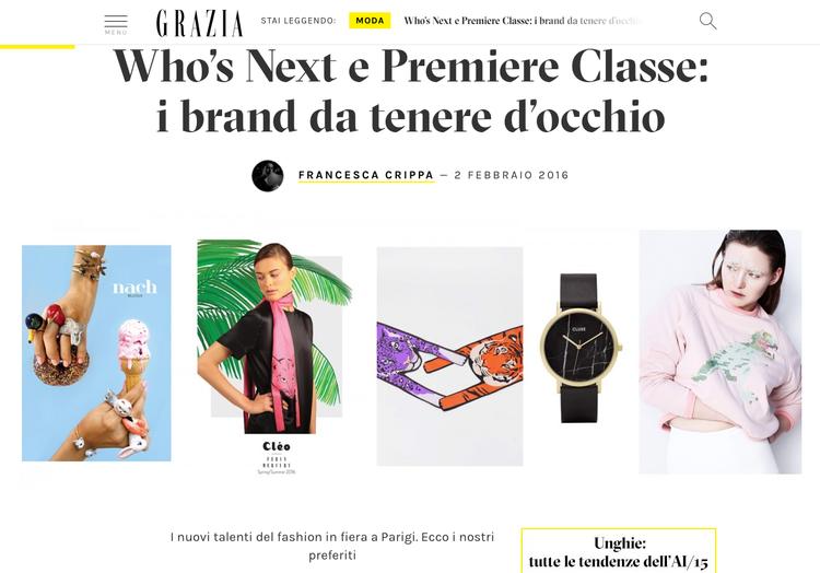 Grazia Magazine - Who's Next e Premiere Classe: i brand da tenere d'occhio