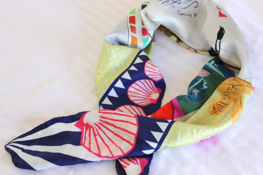 Designer Nautical Silk Scarf as styled by Zoe Macaron