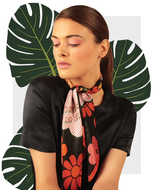 Girls Daydreaming Black Small Silk Scarf - designer flower print silk scarves - Cleo Ferin Mercury.jpg