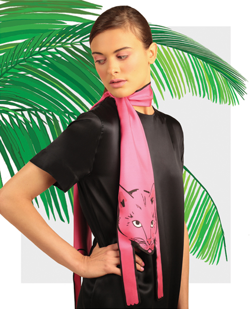 Small Cat in Neon Pink - designer animal print silk scarves - Cleo Ferin Mercury.jpg