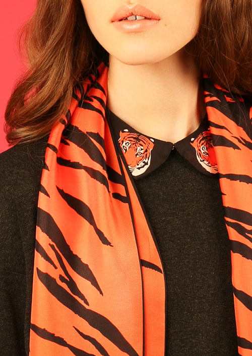Cléo Ferin Mercury - Designer Detachable Silk Coller - Tiger Silk Collar.jpg