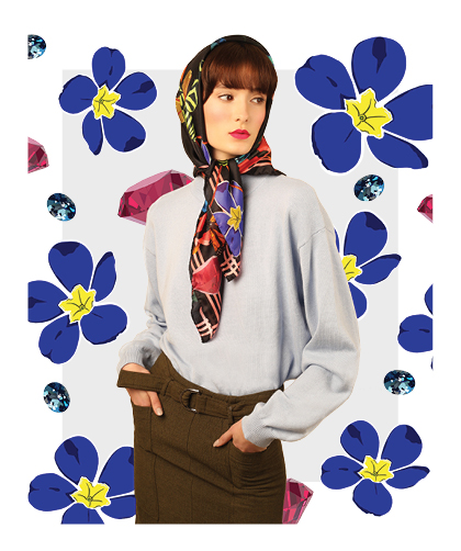 ladies silk scarf - babushka headscarf