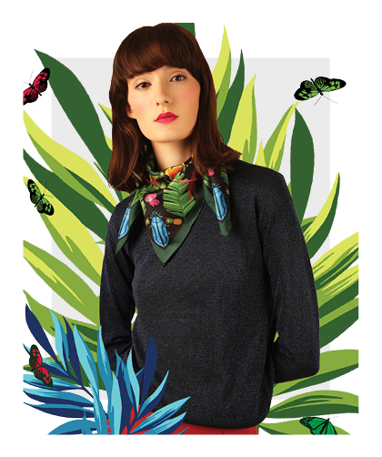 Tropical Garden Small Silk Scarf - Cleo Ferin Mercury AW16.jpg
