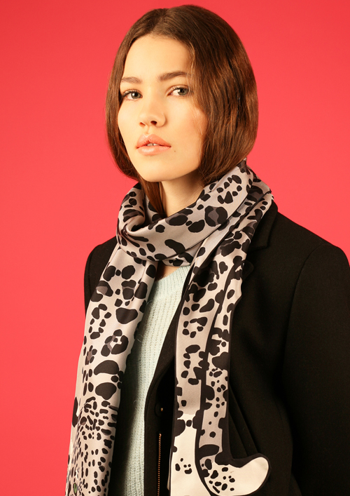 ladies luxury jaguar print silk scarf