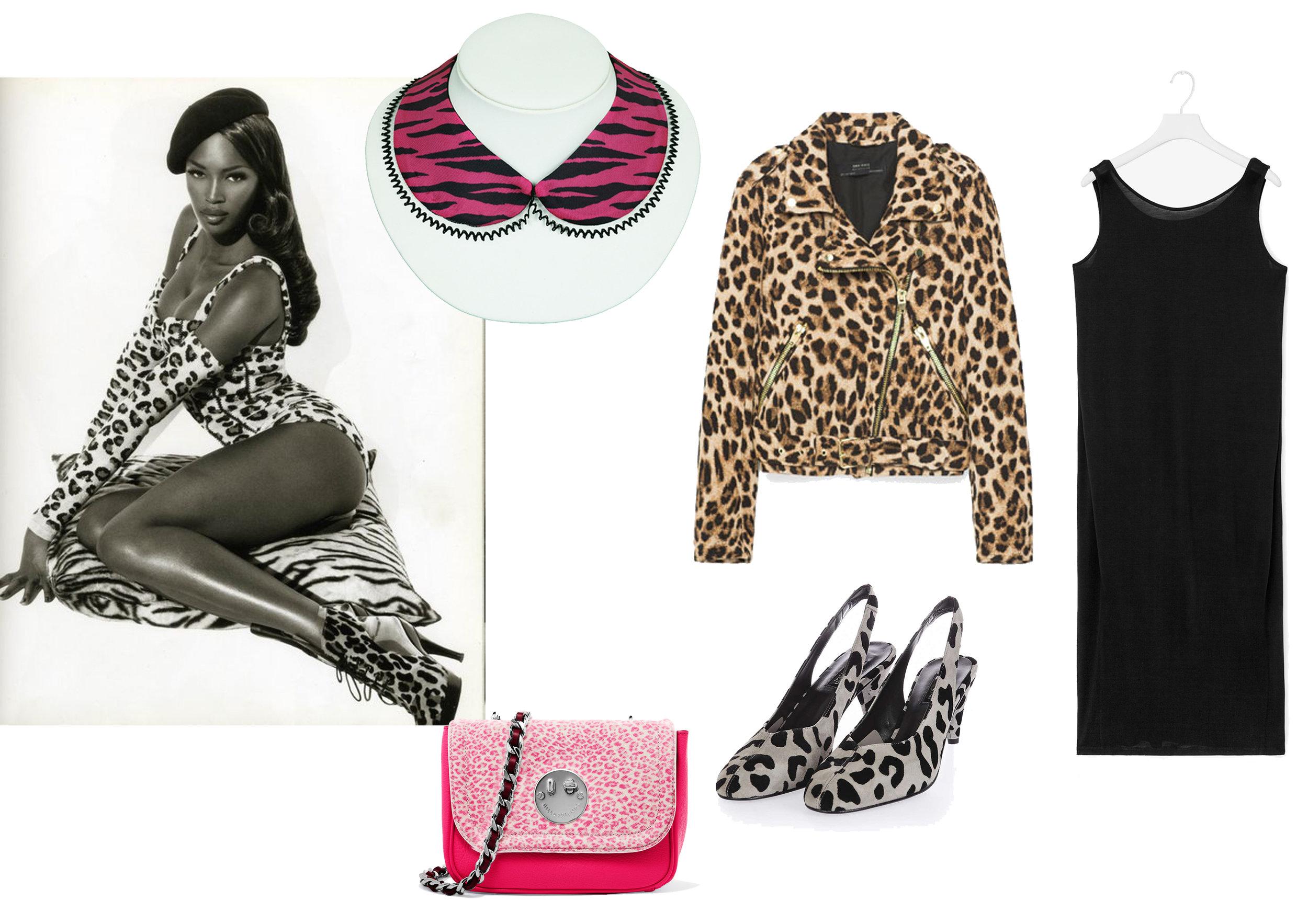 Pink Tiger Print Detachable Collar by Cléo Ferin Mercury ,  Leopard print Jacket by Zara ,  Black Dress by Cos,  Leopard Print Shoes by Top Shop, Pink Bag by Hillier & Friends.