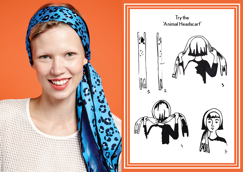 Animal Headscarf Blue Jagua - how to wear a silk scarf - Animal Long Silk Scarf.jpg