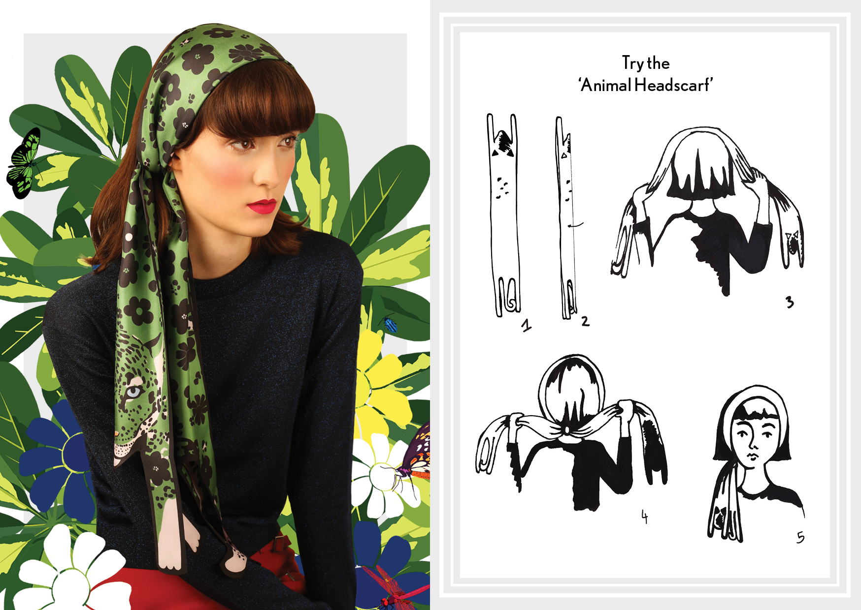 Animal Headscarf Flower Power Jaguar - how to style a silk scarf - Animal Long Silk Scarf.jpg.jpg