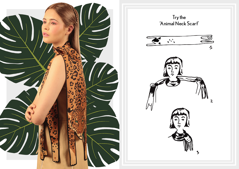 Animal Neck Scarf SS16 Gold Jaguar - how to wear a silk scarf - How to tie an Animal Long Silk Scarf.jpg