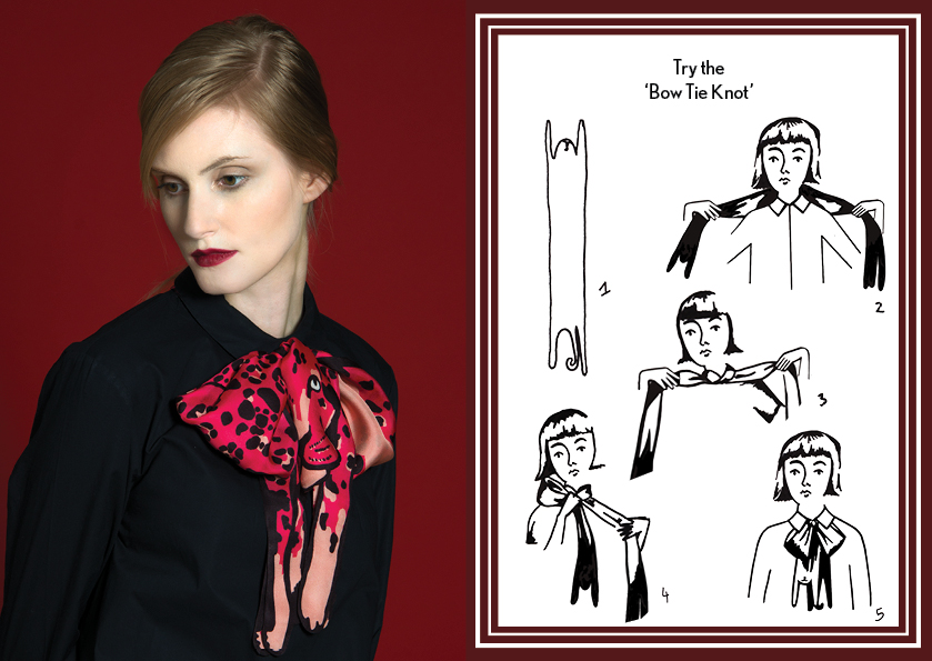 Bow Tie Knot Pink Jaguar - how to wear a silk scarf - Animal Long Silk Scarf.jpg