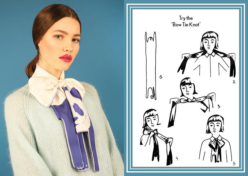 Bow Tie Knot Blue Panda - how to style a silk scarf - Animal Long Silk Scarf.jpg