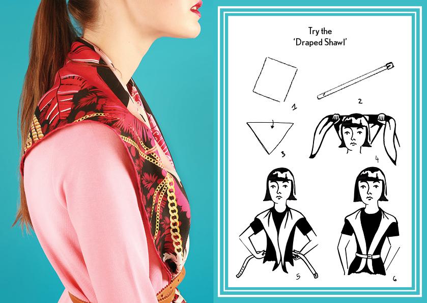 Draped Shawl SS15 Nautical - how to wear a silk scarf - Square Silk Scarf.jpg