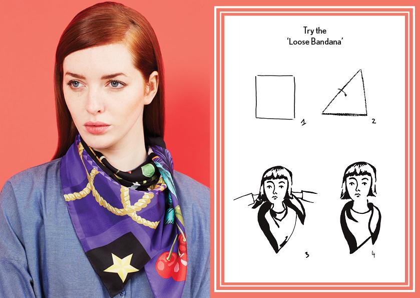 Loose Bandana AW14 Circus - how to style a silk scarf - Square Silk Scarf.jpg