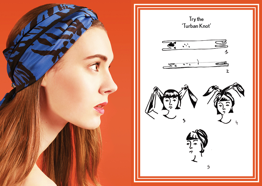 Turban Knot Blue Tiger - how to style a silk scarf - Animal Long Silk Scarf.jpg