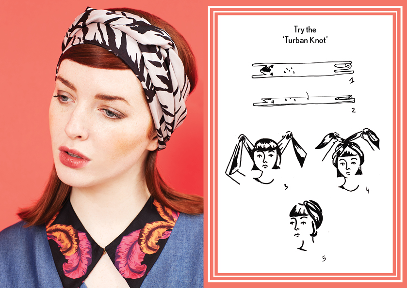 Turban Knot Grey Tiger - how to wear a silk scarf - Animal Long Silk Scarfy.jpg