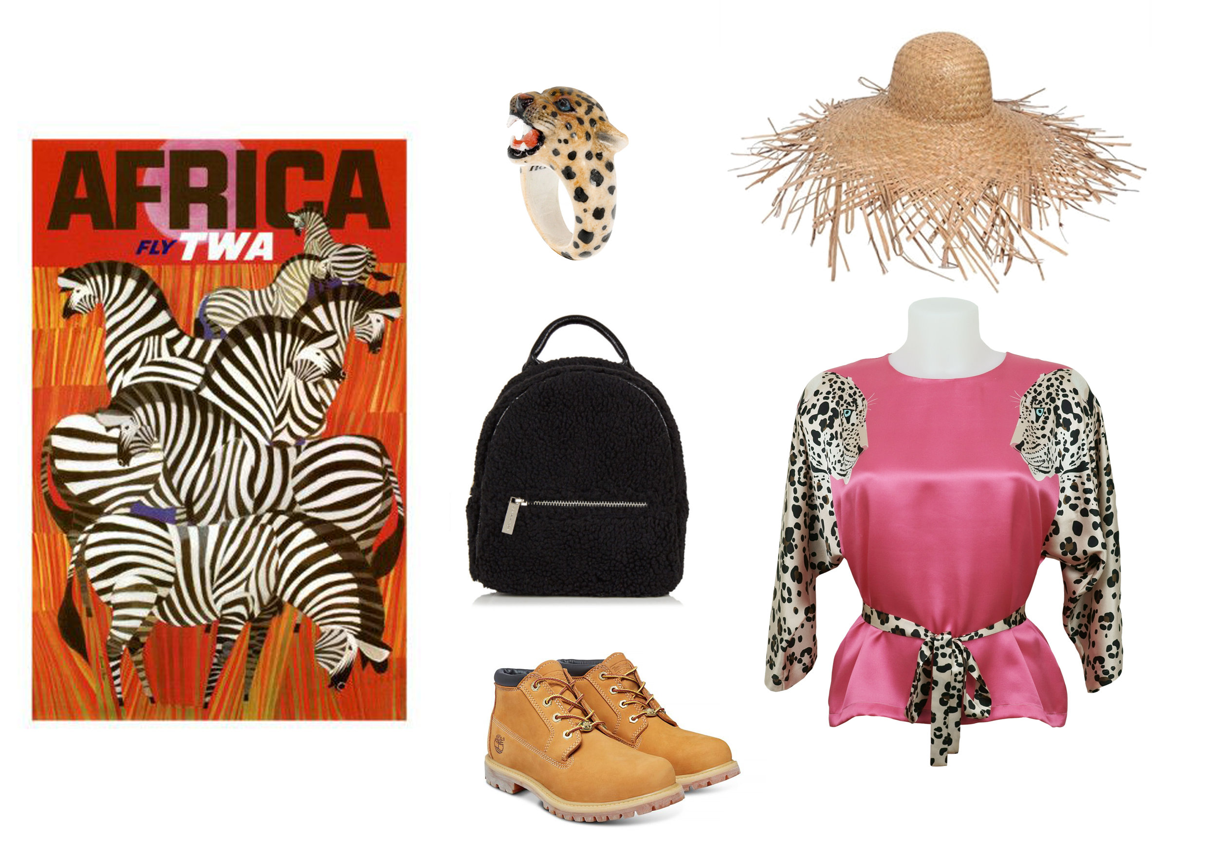 Clockwise:  Ring by Nach Bijoux ,  Straw Hat by Lack Of Colour ,  Animal Blouse by Cléo Ferin Mercury ,  Boots by Timberland ,  Backpack by Skinnydip .
