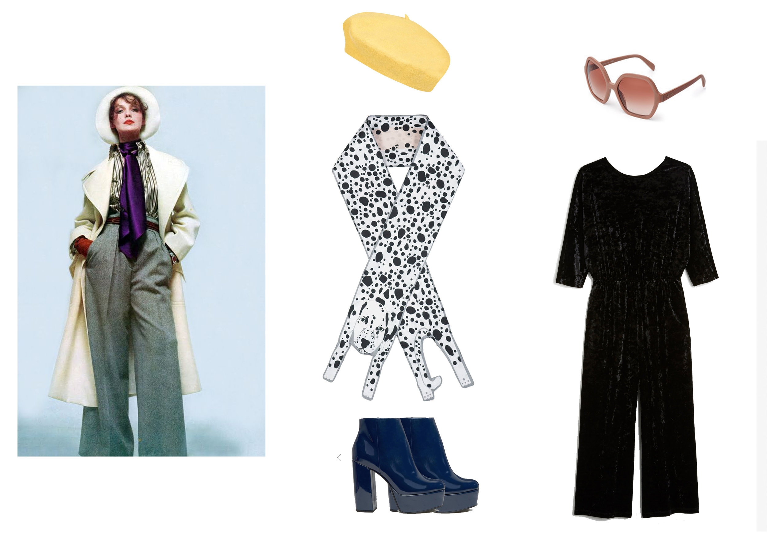 Shop the look:  Yellow Beret by Dolls Kill ,  Pink Sunglasses by Prada  ,  Black Jumpsuit by Monki , Blue  Platform Shoes by Asos , and  Dalmatian Twilly Scarf by Cléo Ferin Mercury .
