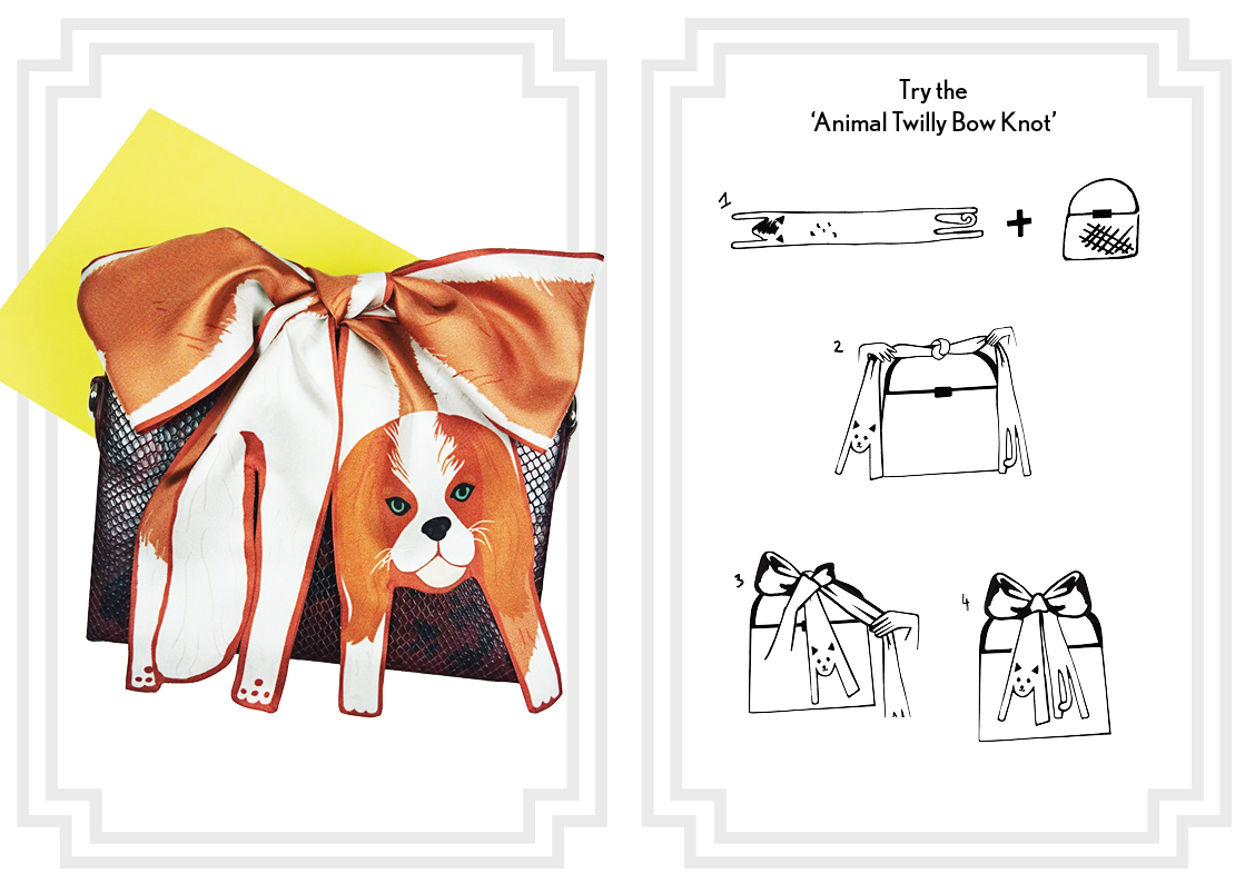 Animal Twilly Bow Knot - how to knot a silk scarf - Mini  King Charles Spanial Silk Twilly Scarf.jpg